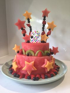 Watermelon fruit cake - kids birthday cake. I made this for my daughter's 2nd birthday party and it was a hit.