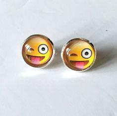 Silver plated cabochon stud earrings – cheeky winking emoji