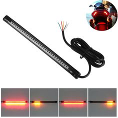 """Universal Flexible 32LED Motorcycle Light Strip Tail Brake Stop Turn Signal Light License Plate Lamp 8"""" Red and Amber Led Color"""