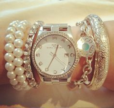 Marc jacobs & Tiffany bracelet stacked look