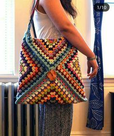 Bolso de ganchillo para mujer - # CROCHET - More Tutorial and Ideas - Crochet Tote, Crochet Handbags, Crochet Purses, Crochet Granny, Crochet Stitches, Free Crochet, Knit Crochet, Crochet Squares, Sac Granny Square
