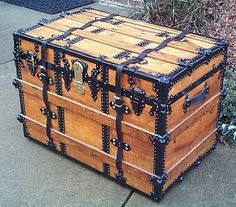 343 All Wood Flat Top Antique Steamer Trunk by ThePiratesLair, $895.00