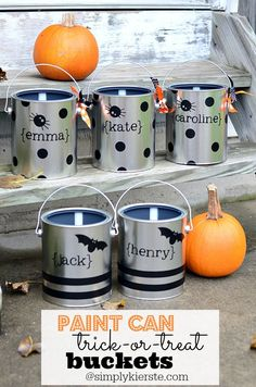 Darling Trick-or-Treat Buckets using $5 paint cans! Easy and inexpensive to make, and SO fun!