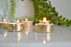 Gold Washi Tape Candle DIY