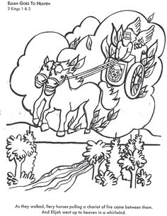 Learn Bible Stories With Elijah Goes To Heaven Coloring Page