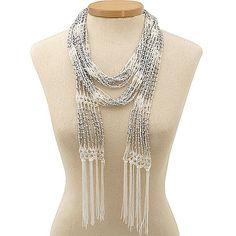 free crochet beaded scarf pattern | Beaded Ivory Crochet Skinny Scarf/ Necklace