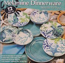 Melamine Blue Green Sea Life 12 Piece Dinnerware Set 4 Dinner Plates 4 Salad Melamine Dinnerware Sets Melamine Dinnerware Ceramic Dinnerware Set
