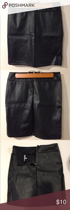 Charlotte Russe Black Leather Pencil Skirt Charlotte Russe Black Leather Mini Pencil Skirt in perfect condition. NEVER WORN. Perfect for going out and can be worn high-wasted or regular. Very slimming! Charlotte Russe Skirts Mini