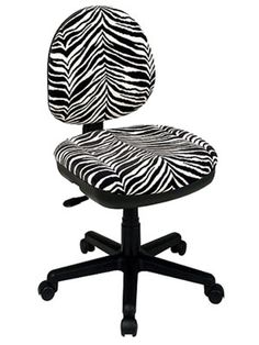 I'm learning all about Task Chair: Office Star Zebra-Print Swivel Desk Chair at My New Room, My Room, Girl Room, Desk Chair, Swivel Chair, Zebra Print Rooms, Dorm Accessories, Office Star, Cool Rooms