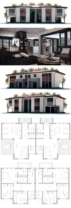Duplex House Plan, both units with three bedrooms, covered terrace.