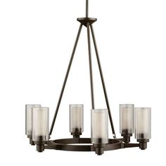 Kichler Circolo Olde Bronze Modern/Contemporary Clear Glass Chandelier at Lowe's. The Circolo 6 light round chandelier features a Olde Bronze® finish and a clear outer and umber etched inner glass cylinders for a classic Indoor Lighting, Clear Glass Chandelier, Round Chandelier, Dining Room Lighting, Ceiling Lights, Chandelier Lighting, Light Fixtures, Home Lighting, Contemporary Chandelier
