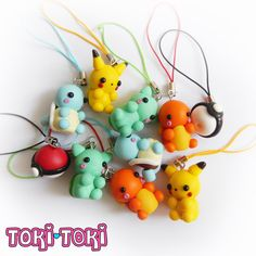 Pokemon Charms Pikachu Bulbasaur Charmander Squirtle Pokeball Polymer Clay Cute Kawaii Chibi Anime Nintendo Videogame Geek Gamer by MadeByTokiToki on Etsy https://www.etsy.com/uk/listing/232777278/pokemon-charms-pikachu-bulbasaur