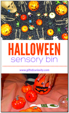 A fun and simple Halloween sensory bin for kids that can provide hours of entertainment. Halloween Activities For Toddlers, Halloween Science, Preschool Halloween, Creative Activities For Kids, Kids Learning Activities, Halloween Crafts For Kids, Sensory Activities, Easy Halloween, Creative Kids