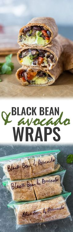 Black Bean and Avocado Wraps ~ healthy black bean and avocado salsa wraps! These quick and flavorful black bean and avocado wraps are tasty, filling and make a great meatless lunch or dinner! They can also be made vegan, too! Veggie Recipes, Lunch Recipes, Mexican Food Recipes, Whole Food Recipes, Vegetarian Recipes, Cooking Recipes, Vegan Meals, Diet Recipes, Easy Cooking