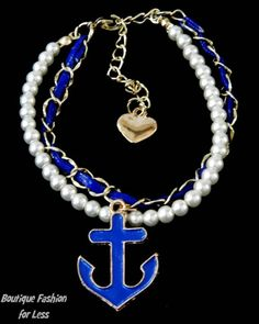 Nautical Anchor Helm Bracelet Elegant Pearl Layered Chain Crystal Choose Style #CrystalAvenue #Beaded