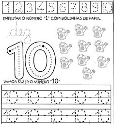 aprendendo%2Bos%2Bnumeros%2Bde%2B1a10%2B10 Numbers Preschool, Learning Numbers, Preschool Math, Kindergarten Activities, Classroom Activities, First Grade Worksheets, Free Math Worksheets, Old Teacher, School Labels
