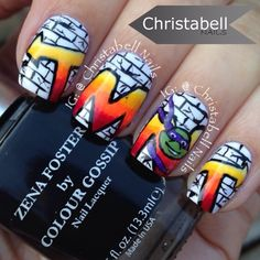 Instagram media by christabellnails - Graffiti and TMNT #nail #nails #nailart