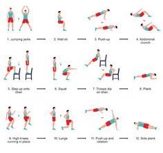 The Scientific Workout : 12 exercises, 30 seconds each, 10 second rest. This is high intensity interval training (HIIT) & burns more fat than traditional cardiovascular exercise. Why HIIT is awesome for weight loss & fitness: www. 7 Minutes Workout, Seven Minute Workout, Yoga Fitness, Sport Fitness, Health Fitness, Workout Fitness, Girl Workout, Summer Fitness, Fitness Shirts