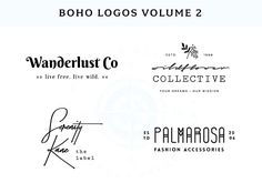 Boho Logo Templates Vol. 2 by Wild Side Design Co. Business Illustration, Pencil Illustration, Business Brochure, Business Card Logo, 100 Free Fonts, Logo Creation, Logo Templates, Design Templates, Script Type