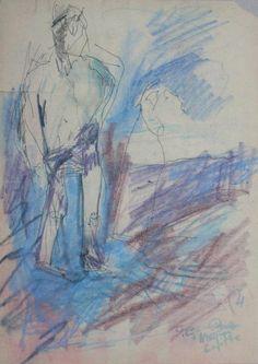 Józef CZAPSKI,Postać męska, tusz, flamaster, papier, 39,5 x 21 cm