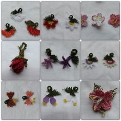 Handmade flower oya charms for necklace bracelet by AichasFlowers, ¥500
