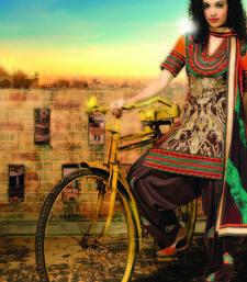 Buy Brown Bhagalpuri dupion embroidered unstitched salwar with dupatta dress-material online