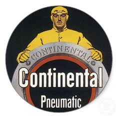 Continental Tire Vintage Car Art Postcard Stickers by postershoppe