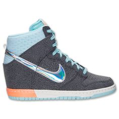 Women's Nike Dunk Sky High Premium Casual Shoes | FinishLine.com | Dark Grey/Metallic Silver/Glacier Ice