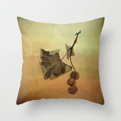 One Spring Leaf Throw Pillow by Victoria Herrera - $20.00