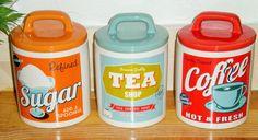 RETRO SET OF 3 AIR TIGHT RED ORANGE BLUE TEA COFFEE SUGAR JARS STORAGE CANISTERS | eBay