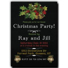 Christmas Party Invitation Blackboard (chalkboard) Holly with Bells