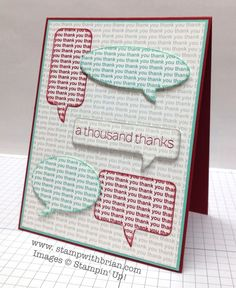 Lots of Thanks, Stampin' Up!, Brian King, Stamp set:  A Lot of Thanks  Papers:  Cherry Cobbler, Coastal Cabana, Whisper White  Inks:  Cherry Cobbler, Coastal Cabana, Smoky Slate  Accessories:  Word Bubbles Framelits, Stampin' Dimensionals.