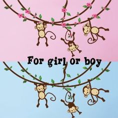 Cute monkey nursery wall decals