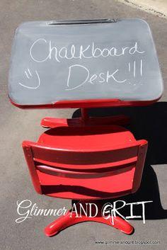 Glimmer And Grit: Old School Chalkboard Desk Makeover