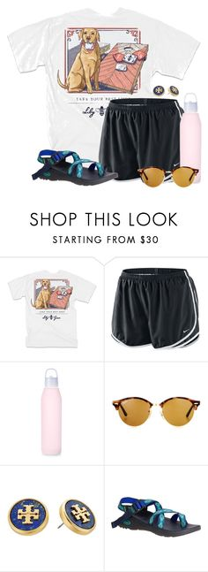 """""""Going to the DOLLA STORE again"""" by flroasburn ❤ liked on Polyvore featuring NIKE, Ray-Ban, Tory Burch and Chaco"""