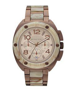 Michael Kors Mid-Size Tribeca Chronograph Watch, Espresso/White Horn. $275