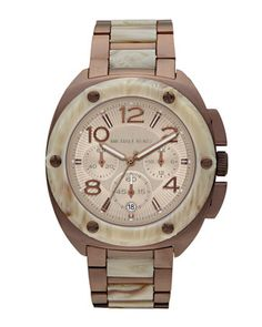 Michael Kors Mid-Size Tribeca Chronograph Watch, Espresso/White Horn. $275