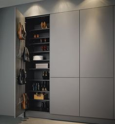 high cupboards for shoes for example in the pantry Graploss with tipon cabinet shoebox is part of Hall wardrobe - Hall Wardrobe, Wardrobe Design Bedroom, Diy Wardrobe, Wardrobe Doors, Closet Bedroom, Master Bedroom, Shoe Closet, Flur Design, Bedroom Cupboards