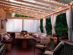 Love everything about this! The lights, the clear plexi roof, the privacy curtains, so perfect!