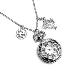 Alice in Wonderland We're All Mad Here Pocket Watch Necklace