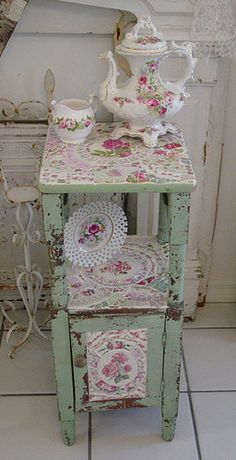 A Great Find!! Chippy Cabinet Mosaicked with Roses!! | Flickr - Photo Sharing!