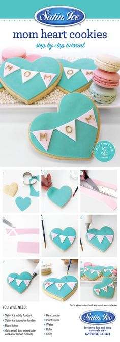 DIY fondant heart cookies for Mother's Day by Satin Ice! Shop now to DIY satinic… DIY fondant heart cookies for Mother's Day by Satin Ice! Shop now to DIY satinice. Mothers Cookies, Mothers Day Desserts, Mothers Day Cupcakes, Mothers Day Cake, Mother's Day Cookies, Heart Cookies, Iced Cookies, Cut Out Cookies, Sugar Cookie Icing