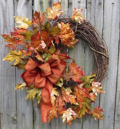 Fall Wreath - Fall Door Wreath - Glitzy Fall Front Door Wreath with Gilded Leaves and Bow Thanksgiving Wreaths, Holiday Wreaths, Summer Wreath, Wreath Fall, Autumn Wreaths For Front Door, Outdoor Wreaths, Autumn Decorating, How To Make Wreaths, Fall Crafts