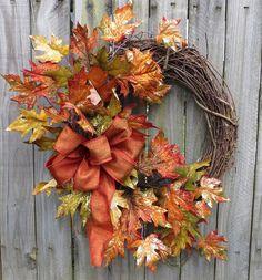 Fall Wreath  Fall Door Wreath  Glitzy Fall Front by HornsHandmade, $53.00