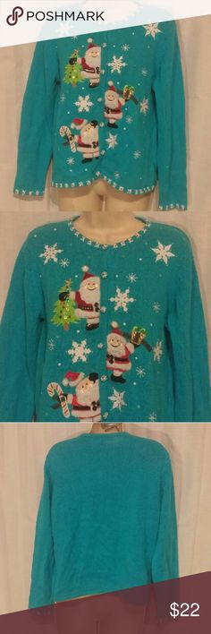 """Blue Christmas Beaded Sequins Cardigan Sweater PL Beautiful sweater with light wash wear. Sequins and bead embellished.   All clothes are in excellent used condition. No stains or holes.  Content: 55% ramie 45% cotton  Bust: 40""""  Length: 24""""  Posh9 Carly St. Claire Sweaters Cardigans"""