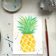 Watercolor Pineapple Original Art by ArtbyShannonBezold on Etsy