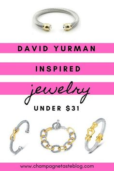 Click through for some amazing David Yurman dupe bracelets for cheap! #designerjewelry #davidyurman #thelookforless