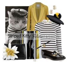 """""""Striped Kitty Feline Fashion"""" by interesting-times ❤ liked on Polyvore featuring C/MEO COLLECTIVE, Oasis, Eugenia Kim, Kate Spade, Nancy Gonzalez, Noir and catstyle"""
