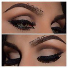 Love the matte color palette and brows. I'm a fan of the bold liner, but don't know how well that would translate to keeping the eyes looking larger.