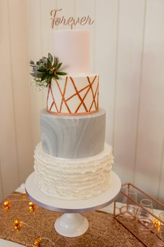 Elegant Wedding Cake With Grey Marble Effect & Geometric Rose Gold Icing   Rebecca Roundhill Photography